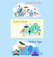 family activities outdoor games yoga practice vector image