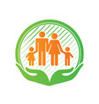 family care center logo design hands holding kids vector image vector image