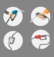 filling gasoline station pistol in people hands vector image