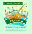 Fishing competition poster vector image vector image