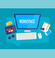 flat design workspace in messaging cloud box vector image vector image