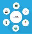 flat icon season set of boat yacht moisturizer vector image vector image