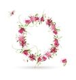 Floral letter O for your design vector image