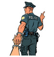 follow me police officer arrested woman isolate vector image vector image