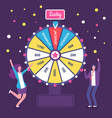 fortune wheel with people man and woman spinning vector image vector image