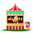 girl in the carnival and wearing finger puppet vector image