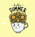 good morning sunflower cup smile face cartoon vector image vector image