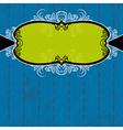green label on blue grunge background vector image