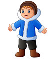 happy boy in blue winter cl vector image vector image