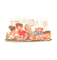 happy family at dinner table vector image vector image