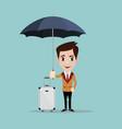 happy man under the umbrella a businessman with vector image