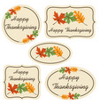 happy thanksgiving labels with leaves vector image vector image