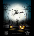 holiday halloween spooky background with pumpkins vector image vector image