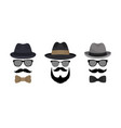 invisable man hat mustache glasses vector image vector image