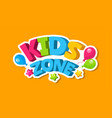 kids zone sticker colorful balloons children vector image vector image