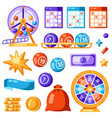 lottery and bingo set of objects icons vector image vector image