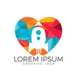 lover rocket logo design vector image vector image