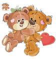loving brown teddy bear hides behind his vector image vector image