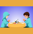 muslim couple eating before meal vector image