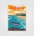 pasir putih anyer beach vintage poster design vector image vector image