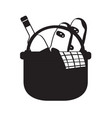 picnic basket silhouette vector image vector image