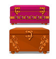 pink and brown suitcase with floral pattern vector image vector image