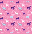 pink winter reindeer folk seamless pattern vector image