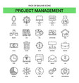 project management line icon set - 25 dashed vector image