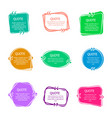 quote boxes with text set color quotes bubble vector image vector image