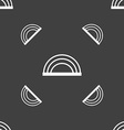 rainbow icon sign Seamless pattern on a gray vector image vector image