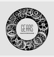 realistic metallic gears circular frame vector image