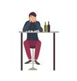 sad man with closed eyes sitting at bar and vector image