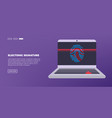 scan fingerprint on laptop identification system vector image