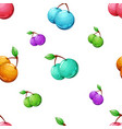 seamless cherry cartoon pattern on the grey vector image vector image