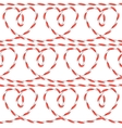 Seamless pattern with hearts from rope Background vector image