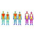 set cartoon body warmth thermogram man and vector image vector image