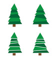 set christmas tree isolated on white background vector image