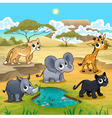 Set of funny wild animals in the nature vector image vector image