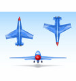 set of military aircrafts fighter jets vector image vector image