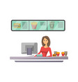 shop counter with cashier icon in flat style vector image vector image