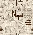 Sketch Nepal seamless pattern vector image