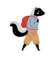 skunk walking with backpack funny humanized