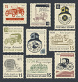 stamps on the theme of road and rail transport vector image vector image