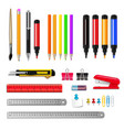 stationery realistic set vector image