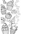 sweet dessert background with cupcakes and ice vector image vector image