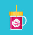 tasty cocktail pink smoothie flat vector image
