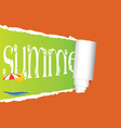 tearing paper with sign of summer vector image
