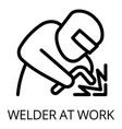 welder at work icon outline style vector image