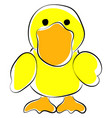 yellow duck on white background vector image vector image
