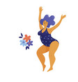 young happy beautiful chubby woman in swimsuit vector image
